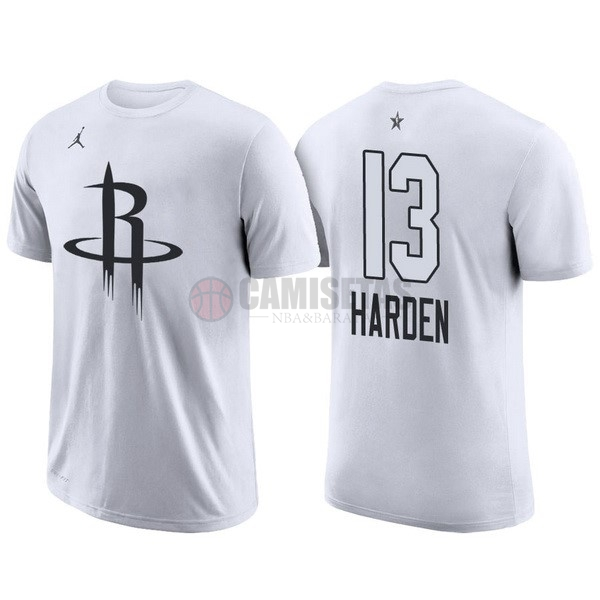 Camisetas NBA 2018 All Star Manga Corta NO.13 James Harden Blanco Barats