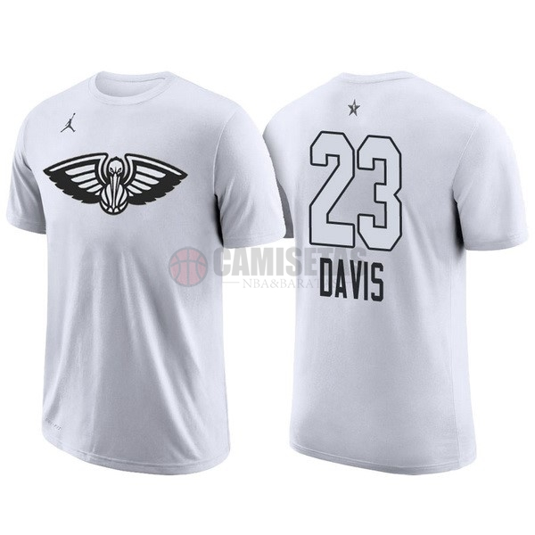 Camisetas NBA 2018 All Star Manga Corta NO.23 Anthony Davis Blanco Barats