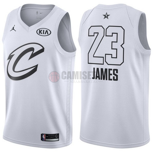 Camisetas NBA 2018 All Star NO.23 Lebron James Blanco Barats
