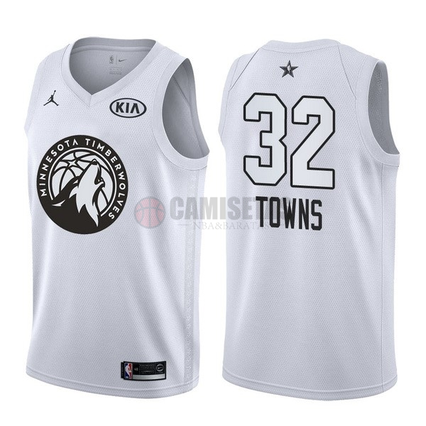 Camisetas NBA 2018 All Star NO.32 Karl Anthony Towns Blanco Barats