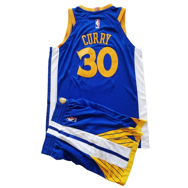 Camisetas NBA Conjunto Completo Niño Golden State Warriors NO.30 Stephen Curry Azul 2017-18 Barats