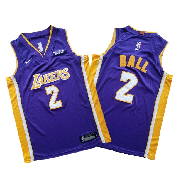Camisetas NBA Conjunto Completo Niño Los Angeles Lakers NO.2 Lonzo Ball Púrpura 2017-18 Barats