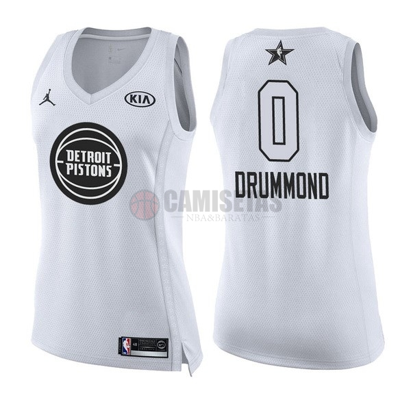 Camisetas NBA Mujer 2018 All Star NO.0 Andre Drummond Blanco Barats