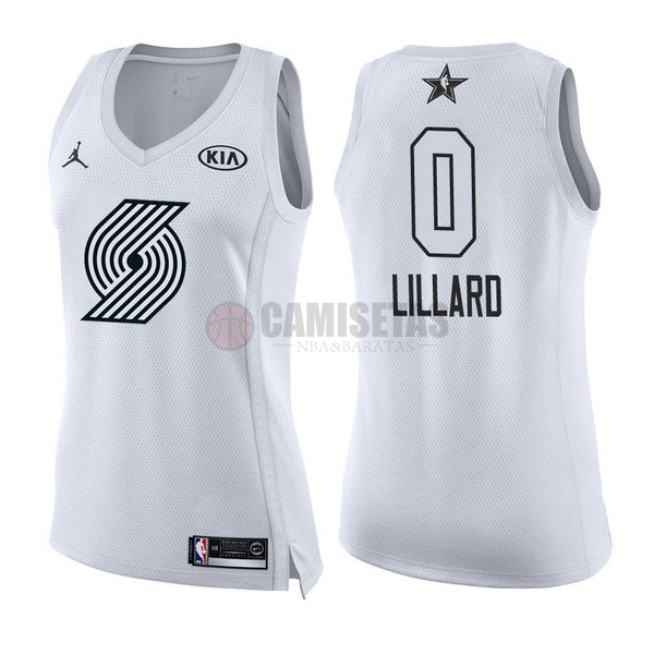 Camisetas NBA Mujer 2018 All Star NO.0 Damian Lillard Blanco Barats