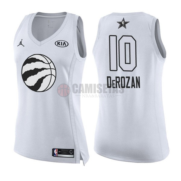 Camisetas NBA Mujer 2018 All Star NO.10 DeMar DeRozan Blanco Barats