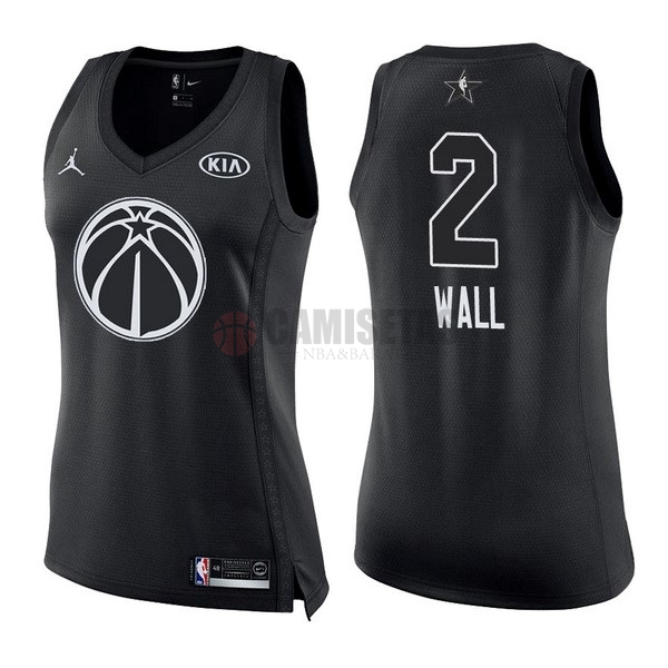 Camisetas NBA Mujer 2018 All Star NO.2 John Wall Negro Barats