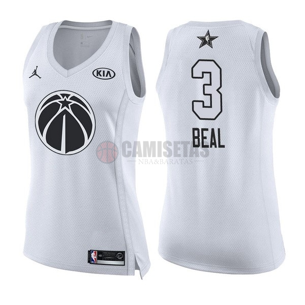Camisetas NBA Mujer 2018 All Star NO.3 Bradley Beal Blanco Barats