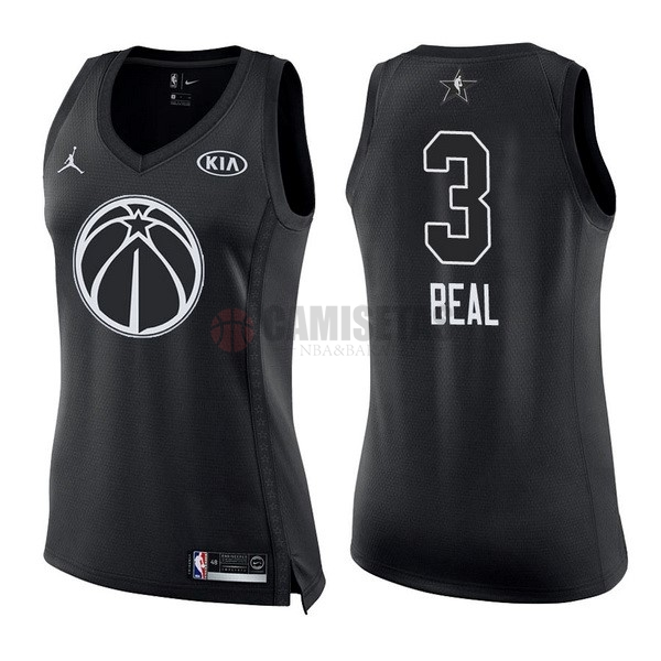 Camisetas NBA Mujer 2018 All Star NO.3 Bradley Beal Negro Barats