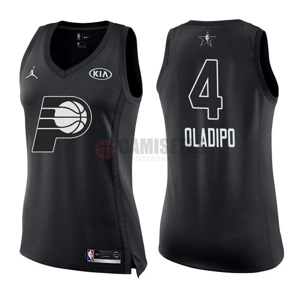 Camisetas NBA Mujer 2018 All Star NO.4 Victor Oladipo Negro Barats