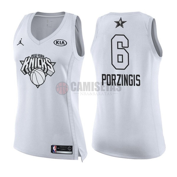 Camisetas NBA Mujer 2018 All Star NO.6 Kristaps Porzingis Blanco Barats
