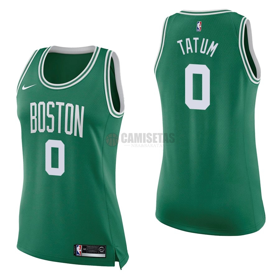 Camisetas NBA Mujer Boston Celtics NO.0 Jayson Tatum Verde Icon Barats