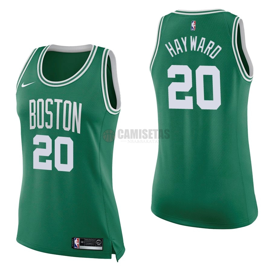 Camisetas NBA Mujer Boston Celtics NO.20 Gordon Hayward Verde Icon Barats