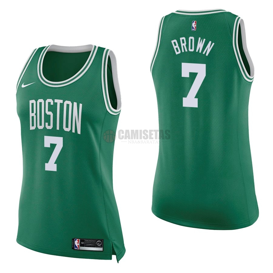 Camisetas NBA Mujer Boston Celtics NO.7 Jaylen Brown Verde Icon Barats