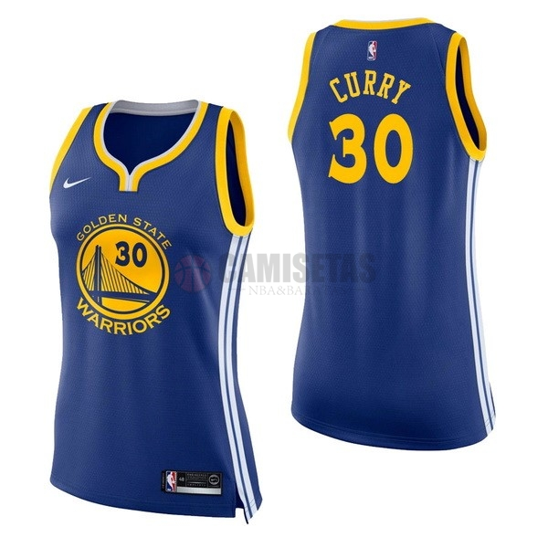 Camisetas NBA Mujer Golden State Warriors NO.30 Stephen Curry Azul Icon Barats
