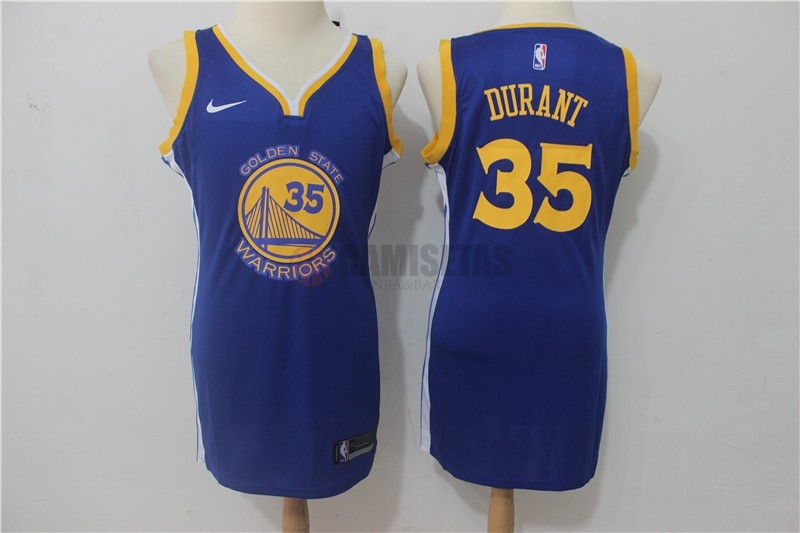 Camisetas NBA Mujer Golden State Warriors NO.35 Kevin Durant Azul Icon Barats