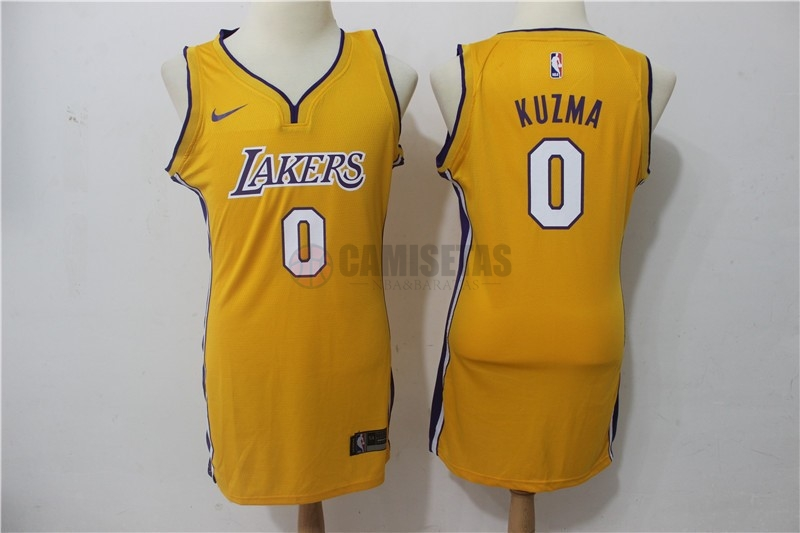 Camisetas NBA Mujer Los Angeles Lakers NO.0 Kyle Kuzma Amarillo Icon Barats
