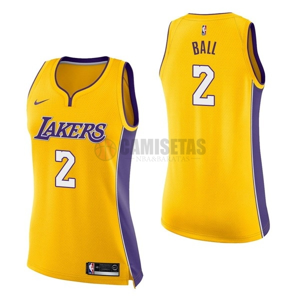 Camisetas NBA Mujer Los Angeles Lakers NO.2 Lonzo Ball Amarillo Icon Barats