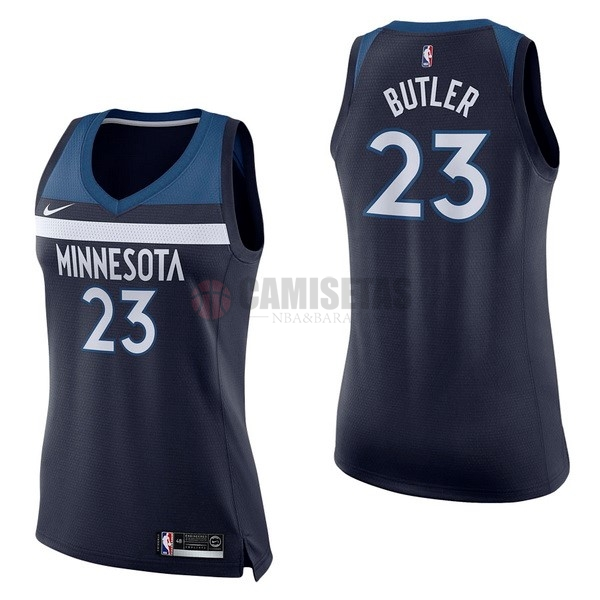 Camisetas NBA Mujer Minnesota Timberwolves NO.23 Jimmy Butler Marino Icon Barats