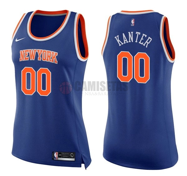 Camisetas NBA Mujer New York Knicks NO.0 Enes Kanter Azul Icon Barats