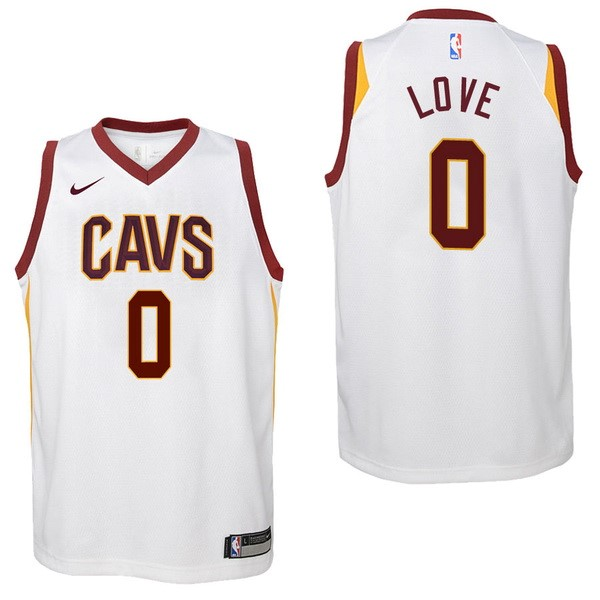 Camisetas NBA Niño Cleveland Cavaliers NO.0 Kevin Love Blanco Association 2017-18 Barats