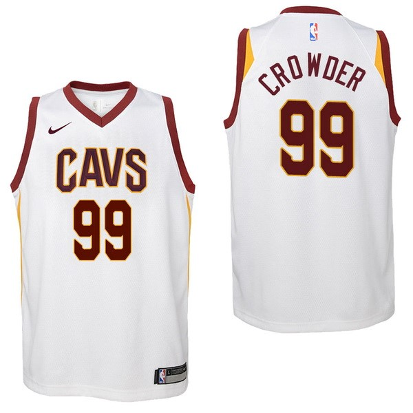 Camisetas NBA Niño Cleveland Cavaliers NO.99 Jae Crowder Blanco Association 2017-18 Barats