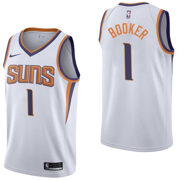Camisetas NBA Niño Phoenix Suns NO.1 Devin Booker Blanco Association 2017-18 Barats