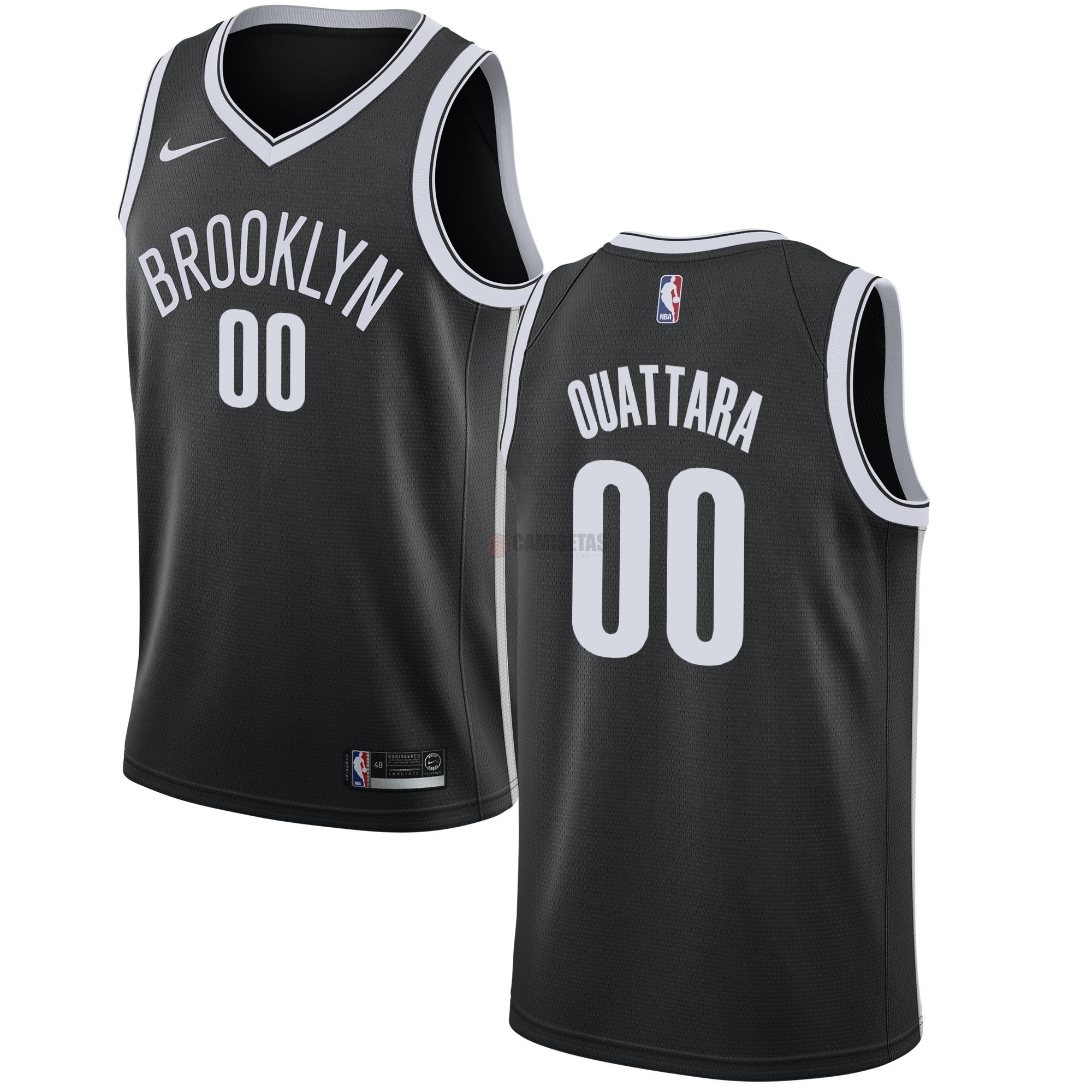 Camisetas NBA Nike Brooklyn Nets NO.0 Yakuba Ouattara Negro Icon Barats