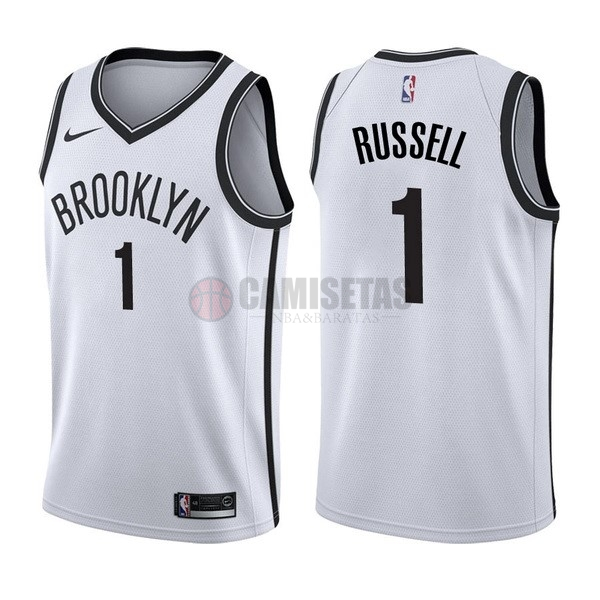 Camisetas NBA Nike Brooklyn Nets NO.1 D'Angelo Russell Blanco Association Barats