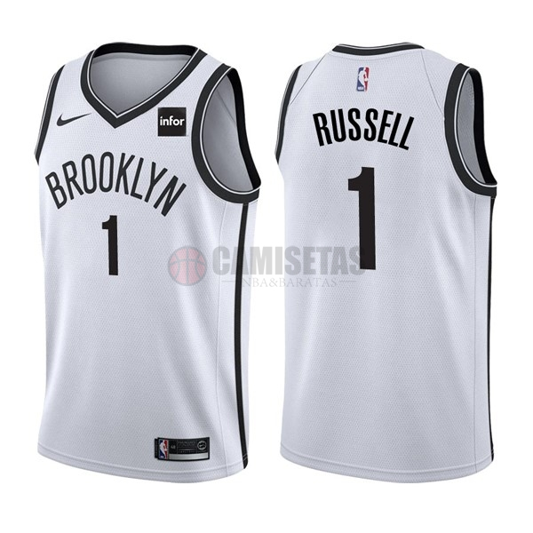 Camisetas NBA Nike Brooklyn Nets NO.1 D'Angelo Russell Blanco Barats
