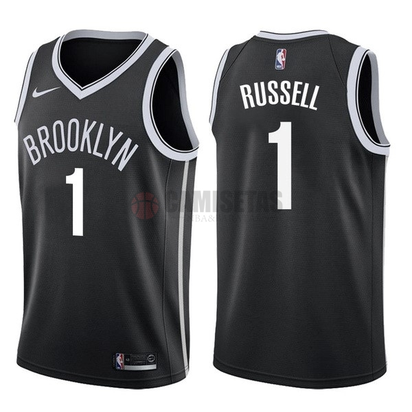 Camisetas NBA Nike Brooklyn Nets NO.1 D'Angelo Russell Negro Icon Barats