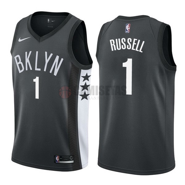 Camisetas NBA Nike Brooklyn Nets NO.1 D'Angelo Russell Negro Statement Barats