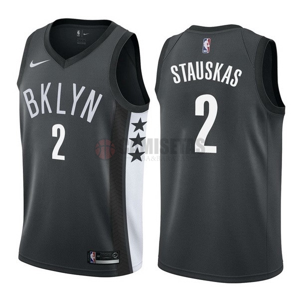 Camisetas NBA Nike Brooklyn Nets NO.2 Akil Mitchell Negro Statement Barats