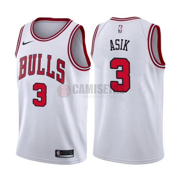 Camisetas NBA Nike Chicago Bulls NO.3 Dwyane Wade Blanco Association Barats
