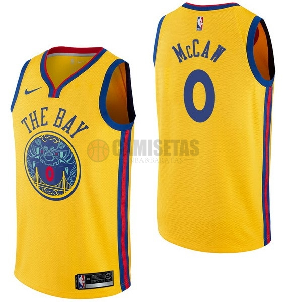 Camisetas NBA Nike Golden State Warriors NO.0 Patrick McCaw Nike Amarillo Ciudad Barats