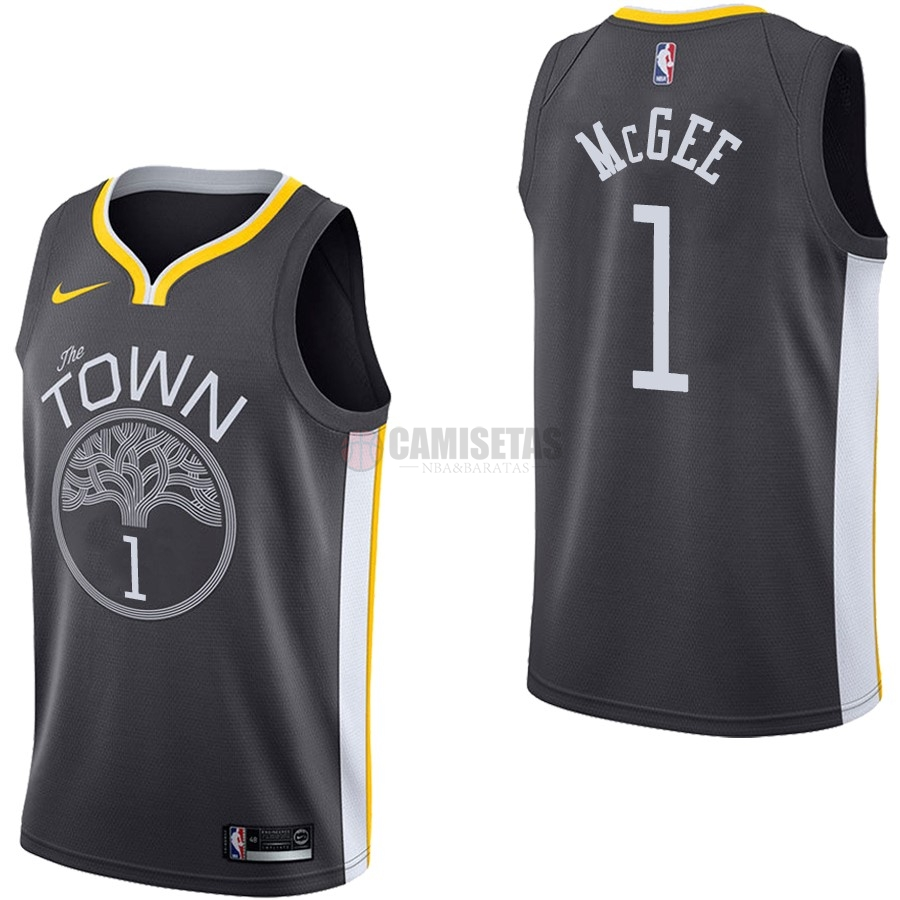 Camisetas NBA Nike Golden State Warriors NO.1 JaVale McGee Negro Statement Barats