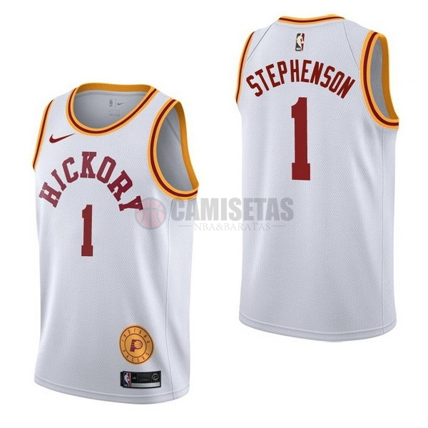 Camisetas NBA Nike Indiana Pacers NO.1 Lance Stephenson Retro Blanco Barats