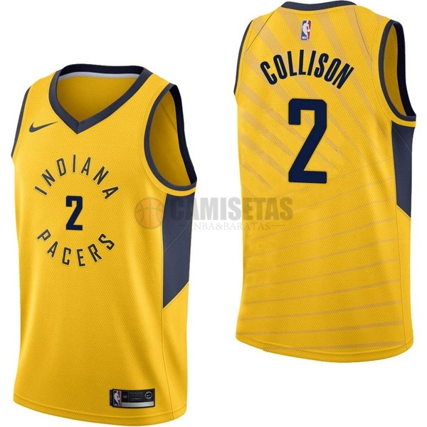Camisetas NBA Nike Indiana Pacers NO.2 Darren Collison Amarillo Statement Barats