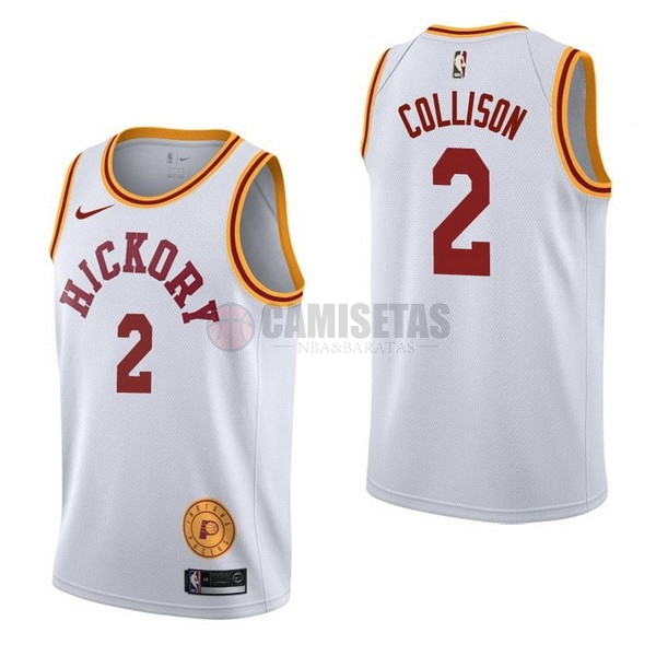 Camisetas NBA Nike Indiana Pacers NO.2 Darren Collison Retro Blanco Barats