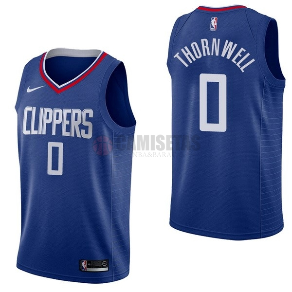 Camisetas NBA Nike Los Angeles Clippers NO.0 Sindarius Thornwell Azul Icon Barats