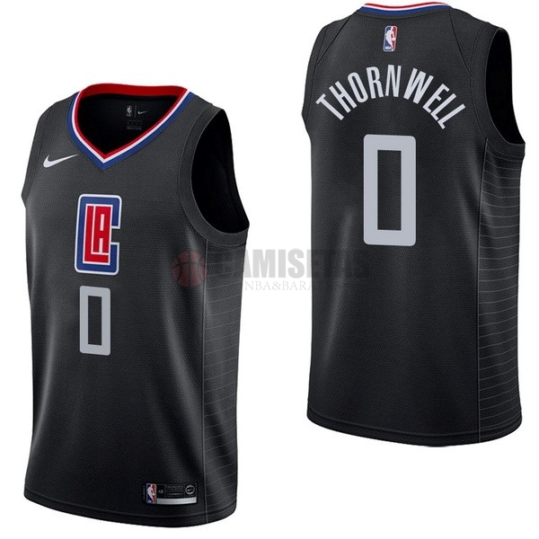 Camisetas NBA Nike Los Angeles Clippers NO.0 Sindarius Thornwell Negro Statement Barats