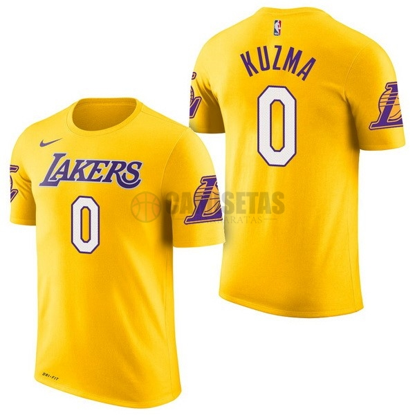 Camisetas NBA Nike Los Angeles Lakers Manga Corta NO.0 Kyle Kuzma Amarillo Barats