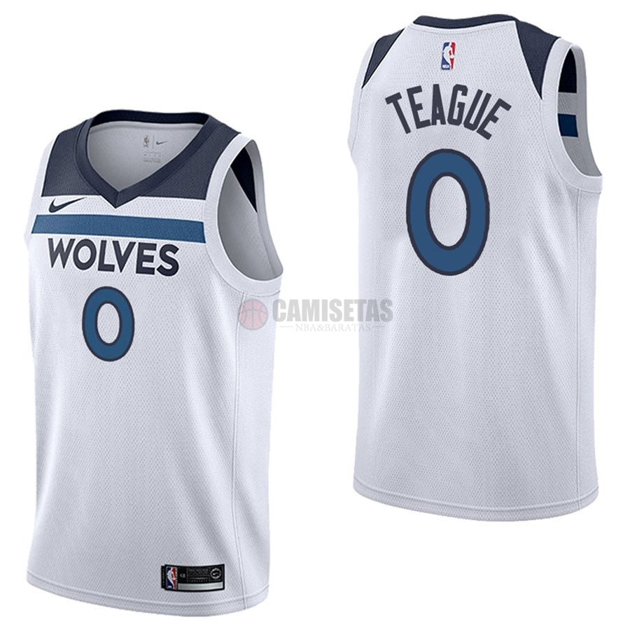 Camisetas NBA Nike Minnesota Timberwolves NO.0 Jeff Teague Blanco Association Barats