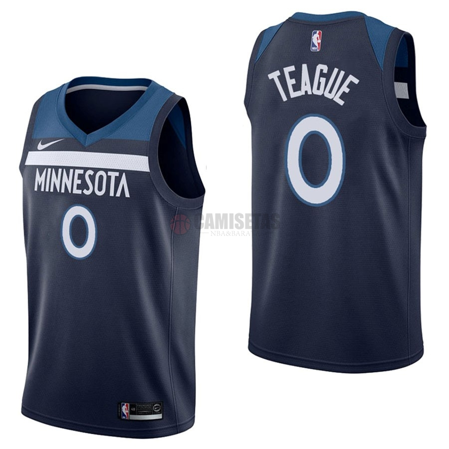 Camisetas NBA Nike Minnesota Timberwolves NO.0 Jeff Teague Marino Icon Barats