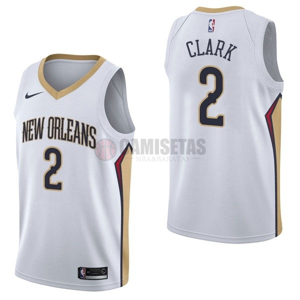 Camisetas NBA Nike New Orleans Pelicans NO.2 Ian Clark Blanco Association Barats