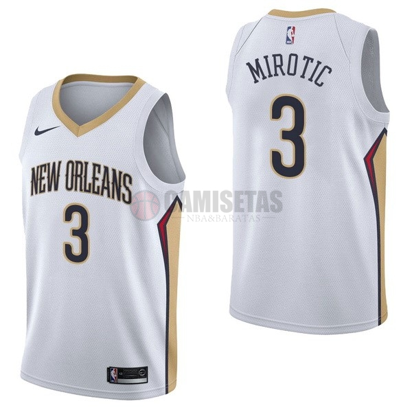 Camisetas NBA Nike New Orleans Pelicans NO.3 Nikola Mirotic Blanco Association Barats