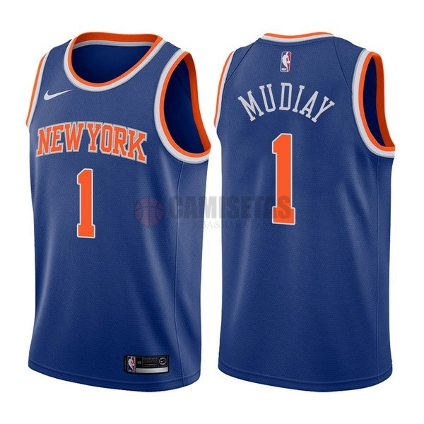 Camisetas NBA Nike New York Knicks NO.1 Emmanuel Mudiay Azul Icon Barats