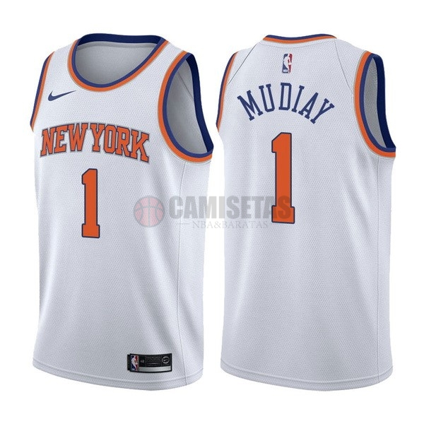 Camisetas NBA Nike New York Knicks NO.1 Emmanuel Mudiay Blanco Association Barats