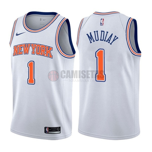 Camisetas NBA Nike New York Knicks NO.1 Emmanuel Mudiay Blanco Statement Barats