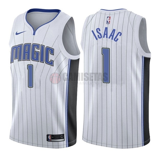 Camisetas NBA Nike Orlando Magic NO.1 Jonathan Isaac Blanco Association Barats