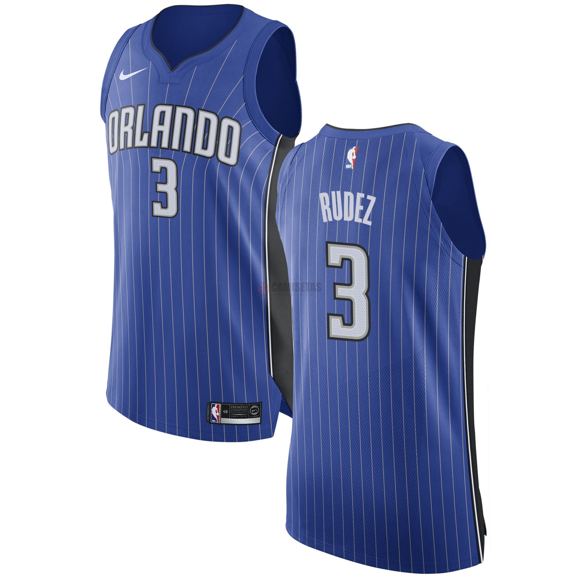 Camisetas NBA Nike Orlando Magic NO.3 Damjan Rudez Azul Icon Barats